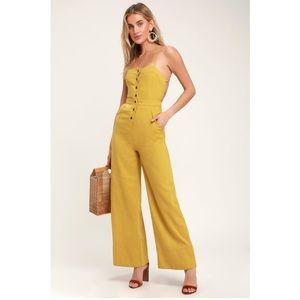 NWT Lulu's Beach Day Mustard Yellow Jumpsuit